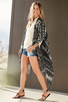 Charcoal Striped Jacquard Cover-Up