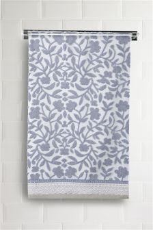 Blue Woven Floral Towel