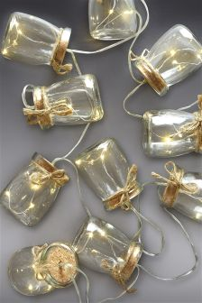 Set Of 10 Solar Glass Jar Line Lights