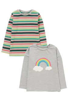 Long Sleeve Rainbow Tops Two Pack (3mths-6yrs)