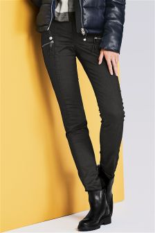 Coated Zip Skinny Trousers