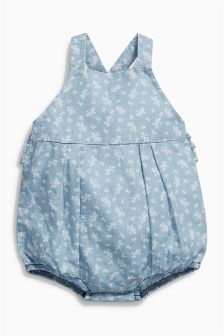 Blue Floral Dungarees (0mths-2yrs)