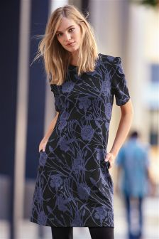 Black/Navy Floral Jacquard Dress