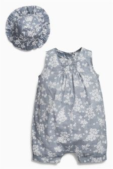 Blue Floral Romper And Hat (0mths-2yrs)