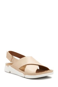 Clarks Nude Leather Trigenic Alexia Cross Strap Sandal