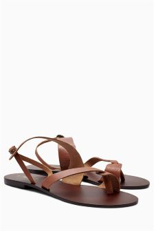 Tooled Leather Toe Loop Sandals