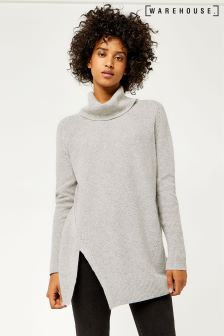 Warehouse Grey Marl Stitchy Cowl Neck Jumper