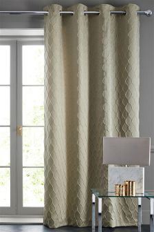 Mink Luxe Oval Jacquard Eyelet Curtains