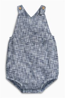 Navy Textured Dungarees (0mths-2yrs)