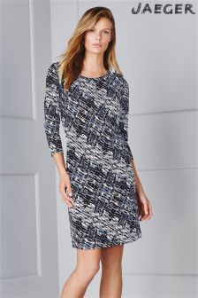 Blue Jaeger Wave Print Jersey Dress
