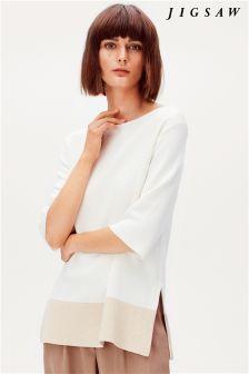 Neutral Jigsaw Colourblock Hem Sweater