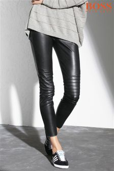 Boss Orange Black Faux Leather Trouser