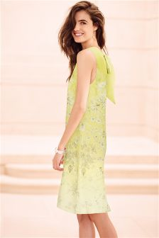 Green Print Bow Back Dress