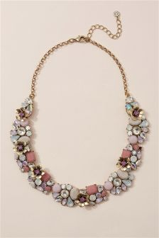 Pale Pink Jewelled Necklace