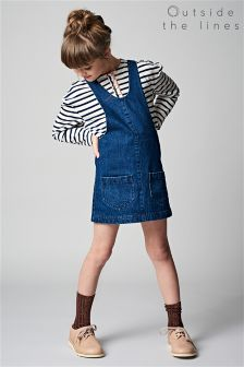 Outside The Line Indigo Denim Dungaree Dress