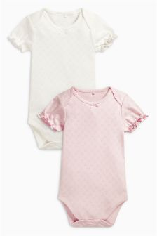 Pink/Cream Short Sleeve Bodysuits Two Pack (0mths-2yrs)