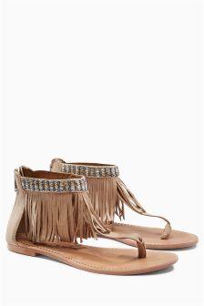 Suede Fringe Sandals