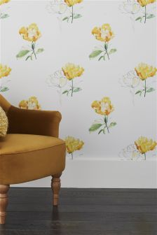 Paste The Wall Ochre Floral Wallpaper