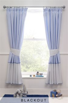 Ocean Days Cotton Blackout Pencil Pleat Curtains