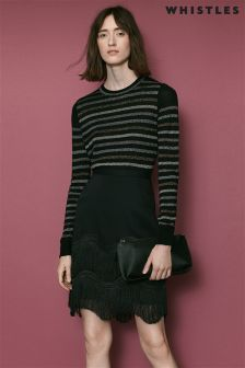 Whistles Black Stripe Sparkle Crew Neck Knit