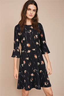 Print Fluted Sleeve Textured Dress