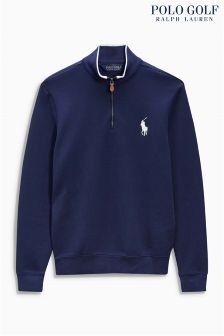Ralph Lauren Polo Golf Grey Interlock 1/2 Zip Top
