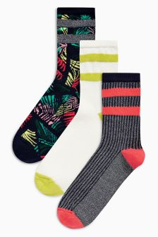 Sporty Stripe Ankle Socks Three Pack