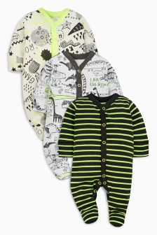 Fluro Dinosaur Sleepsuits Three Pack (0mths-2yrs)