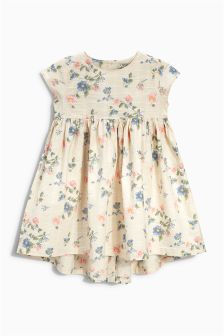 Ecru Floral Long Sleeve Dress (3mths-6yrs)