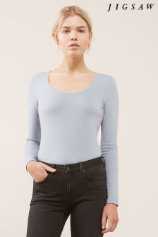 Jigsaw Blue Double Front Scoop Tee