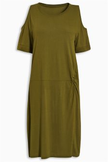 Khaki Twist Front Dress