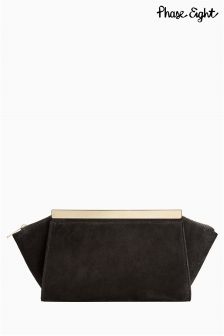 Phase Eight Black Ella Suede Clutch