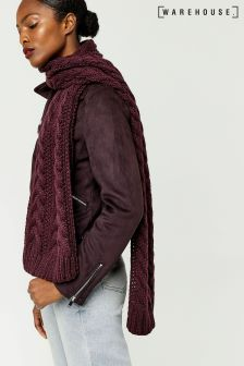 Warehouse Berry Cable Knit Scarf