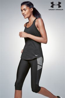 Under Armour Black/White Fly By Print Capri