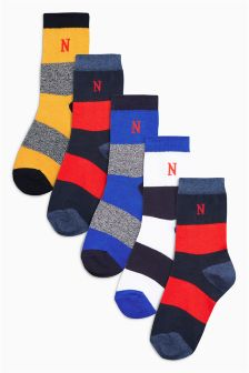 Rugby Stripe Textured Socks Five Pack (Older Boys)