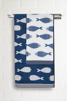 Nautical Fish Jacquard Towels