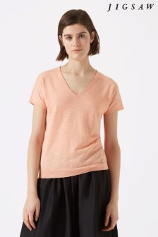 Jigsaw Orange Cotton Slub Pointelle Short Sleeve Jumper