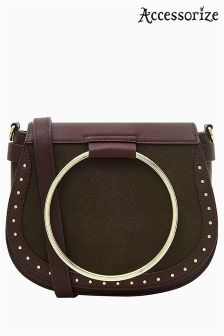 Accessorize Red Metal Ring Saddle Bag