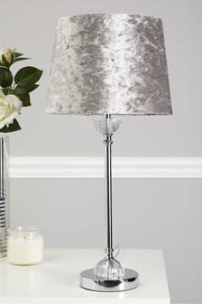 Light Grey Crushed Velvet Stick Lamp