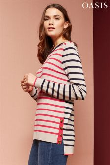 Oasis Red Double Stripe Button Knit
