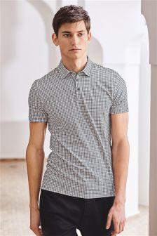 Grey Check Print Poloshirt