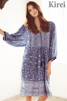 Kirei Sari Print Lace Detail Dress