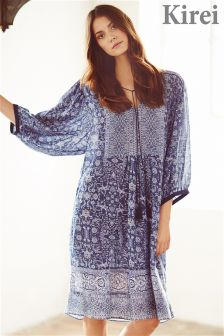 Blue Kirei Sari Print Lace Detail Dress