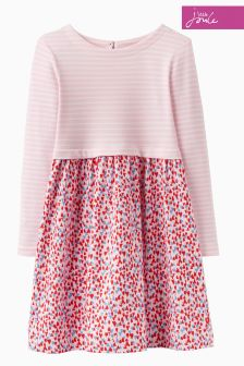 Joules Pink Ditsy Print Mix Dress