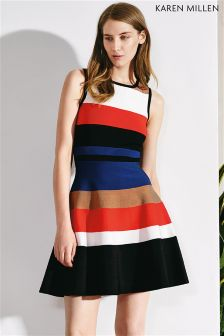 Black Karen Millen Stripe Colourblock Bandage Dress