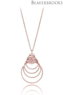 Beaverbrooks Silver Rose Gold Plated Sparkle Cut Pendant