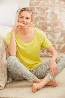 Lime Jersey Cuffed Pyjamas