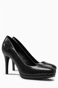 Snake Effect Square Toe Platform Court Shoes