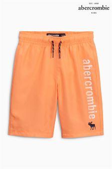 Orange Abercrombie & Fitch Logo Swim Short