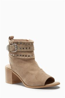 Suede Studded Shoe Boots